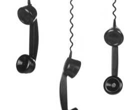 Old Vintage Black Telephone Handsets isolated on white backgroun